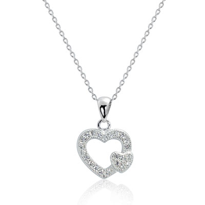 Two Hearts Sterling Silver Cubic Zirconia Necklace