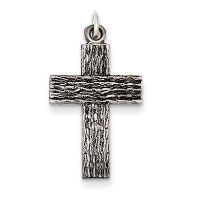 Wood Textured Sterling Silver Cross Pendant