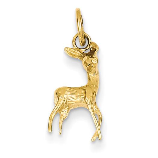 14K Gold Deer Doe Charm