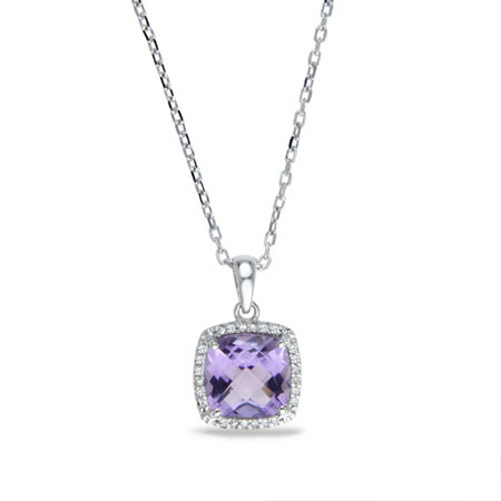 2 Carat Cushion Cut Amethyst and Diamond Halo Necklace in Sterling Silver