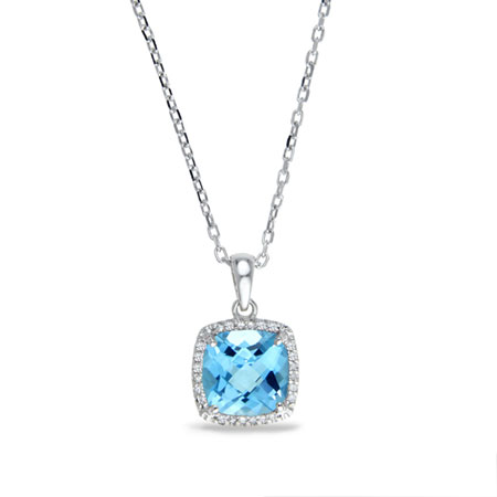 2 Carat Cushion-Cut Blue Topaz and Diamond Halo Stud Necklace in Sterling Silver