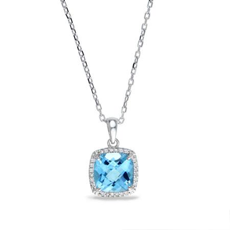 2 carat cushion cut blue topaz and diamond halo stud necklace in 2 carat cushion cut blue topaz and diamond halo stud necklace in sterling silver aloadofball Choice Image