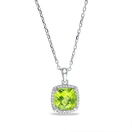 2 Carat Cushion-Cut Peridot and Diamond Halo Necklace in Sterling Silver