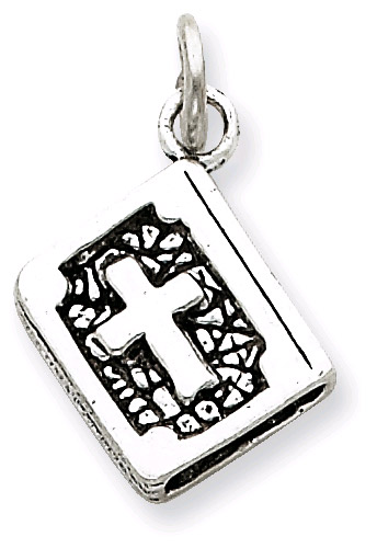 Antiqued Bible Charm in Sterling Silver