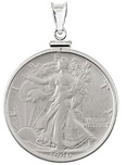 Walking Liberty Sterling Silver 1/2 Dollar Coin Pendant