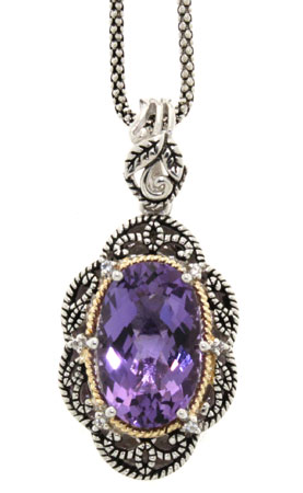 Antiqued Amethyst and Diamond Sterling Silver Pendant with 18K Yellow Gold Accent