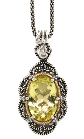 Antiqued Citrine and Diamond Sterling Silver Pendant with 18K Yellow Gold Accent