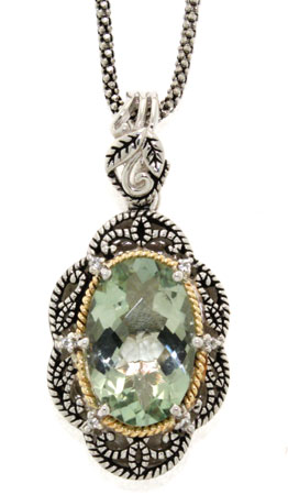 Antiqued Green Amethyst and Diamond Sterling Silver Necklace with 18K Gold Accent
