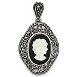 Antiqued Silver Marcasite Black Agate and Mother of Pearl Cameo Pendant