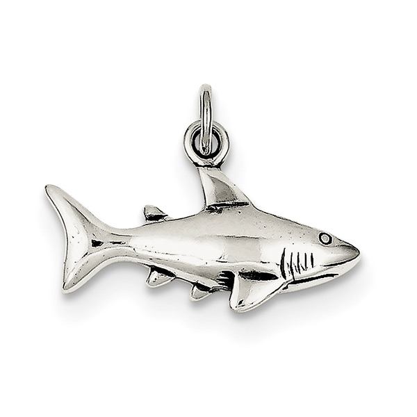 Antiqued Silver Shark Pendant