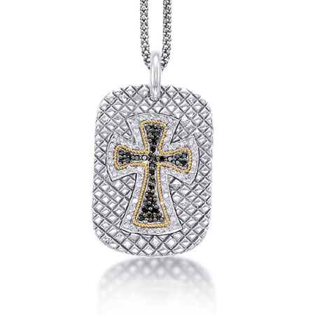 Black and White Diamond Cross Dog Tag Necklace with 18K Gold in Sterling Silver