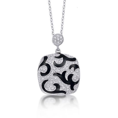 Black Enameled Diamond Pendant Necklace in Sterling Silver