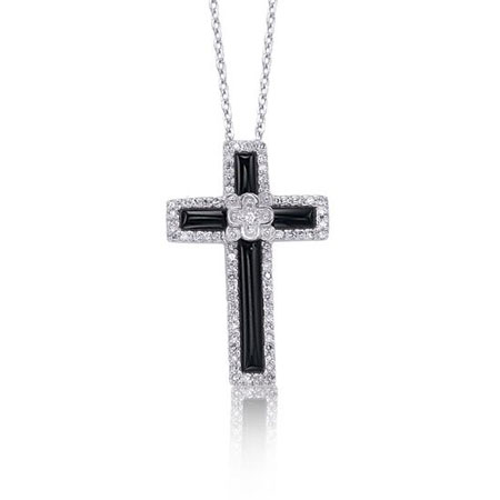 Black Onyx and Diamond Cross Necklace in Sterling Silver