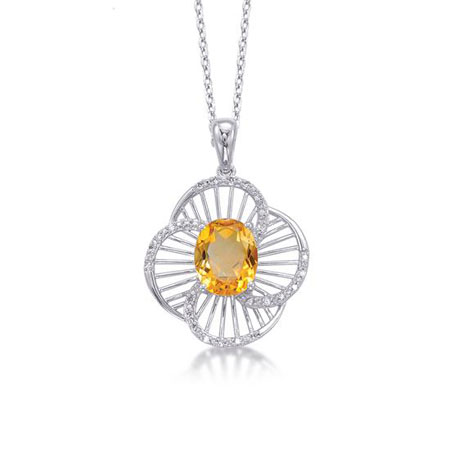 Citrine and Diamond Floral Necklace in Sterling Silver