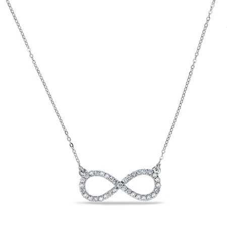 1/4 Carat Diamond Infinity Necklace in 14K White Gold