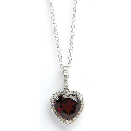 Heart-Shaped Garnet Gemstone and Diamond Halo Necklace in Sterling Silver