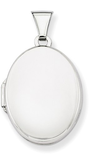 Oval Plain Locket Necklace Pendant in Sterling Silver