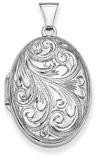 Oval Paisley Scroll Work Locket Pendant Necklace in Sterling Silver