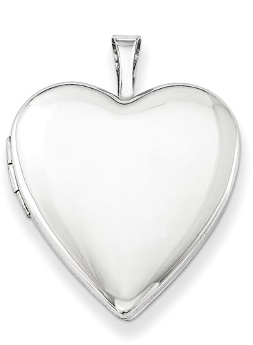 Polished and Plain Heart Locket Necklace, Sterling Silver