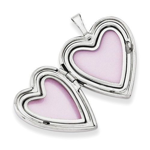 polished plain heart locket necklace