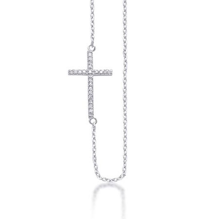 Sideways Cross Diamond Necklace in Sterling Silver