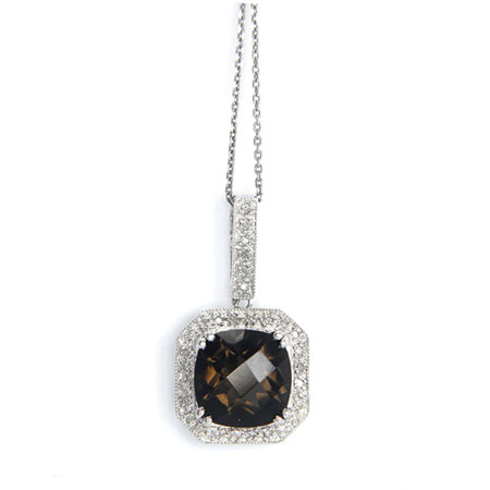 Smoky Quartz and Diamond Halo Necklace in 925 Sterling Silver