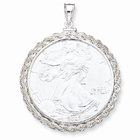 Rope Coin Bezel Pendant for Lady Liberty Coins in Sterling Silver
