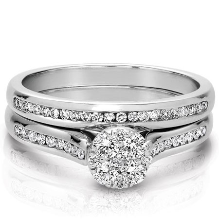 1/2 Carat Wedding and Engagement Bridal Ring Set with Illusion-Setting in 14K White Gold
