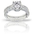 1.35 Carat Pave Diamond Bridal Illusion-Setting Engagement Ring Set in 14K White Gold