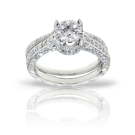 1.35 Carat Pave Diamond Bridal Illusion-Setting Engagement Ring Set in 14K White Gold