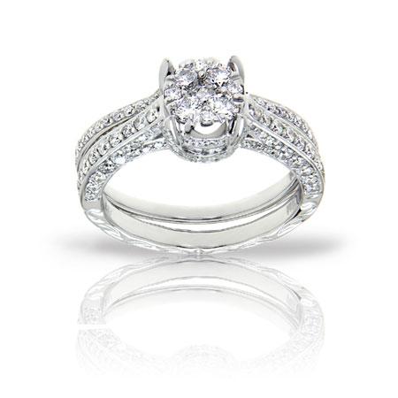 135 Carat Pave Diamond Bridal IllusionSetting Engagement Ring Set