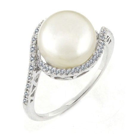 10mm Pearl Button Swirl Ring in Sterling Silver