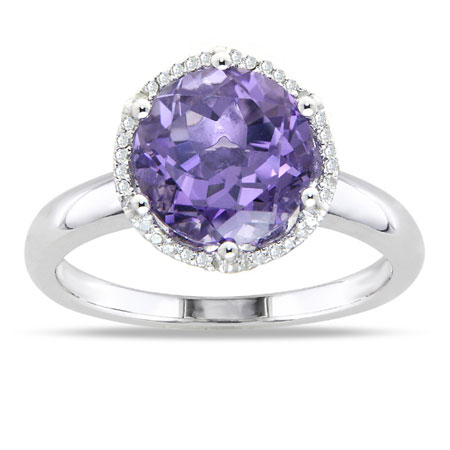 2.70 Carat 10mm Round Amethyst and Diamond Ring in Sterling Silver