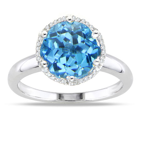 10mm Round Blue Topaz and Diamond Halo Ring in Sterling Silver
