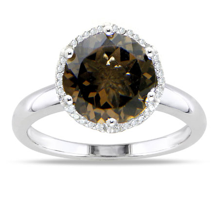 10mm Round Smoky Quartz and Diamond Halo Ring in Sterling Silver