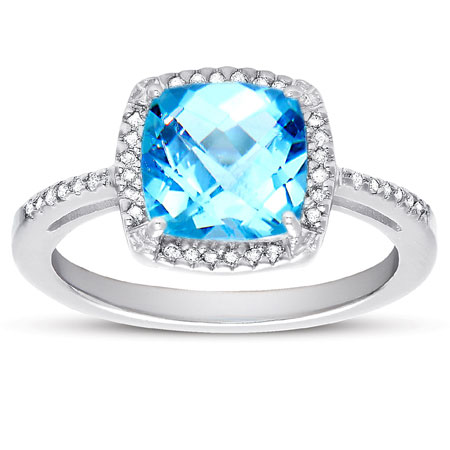 2.60 Carat Antique-Square Blue Topaz and Diamond Halo Cocktail Ring in Sterling Silver