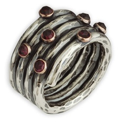 Handmade Sterling Silver Antiqued Garnet Ring with 14K Gold Settings (Rings, Apples of Gold)
