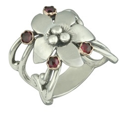 Buy Handmade Sterling Silver Garnet Flower Ring with 14K Gold Settings