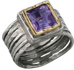 14K Gold and Silver Ribbed Amethyst Ring (Rings, Apples of Gold)