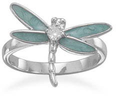 Enameled Dragonfly Sterling Silver Ring with CZ Accent