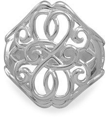 Filigree Heart Design Sterling Silver Rings