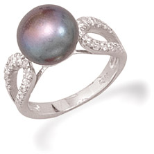 Grey Freshwater Cultured Pearl and CZ Ring
