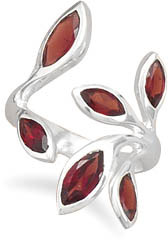 Wrap Around Floral Garnet Ring in Sterling Silver
