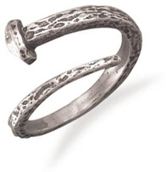 Large Adjustable Nail Ring in Sterling Silver