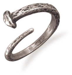 Small Adjustable Nail Ring in Sterling Silver