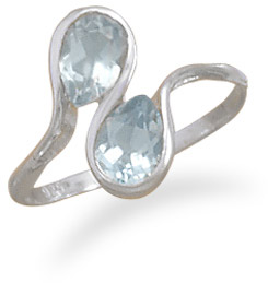 Blue Topaz Wave Ring in Sterling Silver
