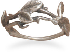 Antiqued Leaf Ring in Sterling Silver