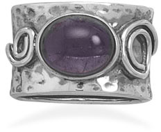 Rustic Amethyst Ring in Sterling Silver