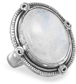 Oval Rainbow Moonstone Ring in Sterling Silver