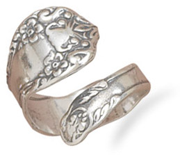 Antiqued Floral Spoon Ring in Sterling Silver